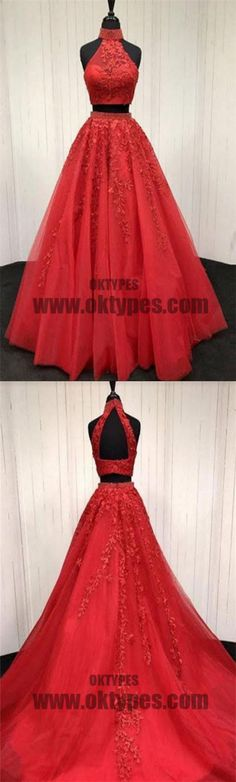 Red Two Piece Appliques Prom Dresses, Long Halter Lace Mermaid Prom Dresses, TYP0444 #promdress  #promdresses  #tulle  #longpromdresses