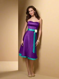GORGEOUS dress - love the purple and aqua together with the white flower holding the tie together!