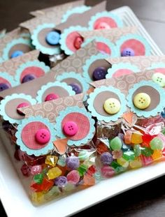 What sweet little owl party bags ~ party favors can be simple bags of treats made more special with owl eyes like these!