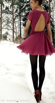 Colorful Winter. Another fun and simple dress. Jazz it up with formal heels or take it from the pic and wear cute boots. throw on a strand of of pearls and you're party ready.