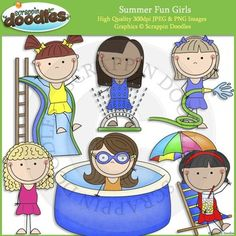 "Our Summer Fun Girls set includes all the images shown in the sample picture (6 images)Graphics come in JPEG and PNG format 300 dpi format.My graphics are suitable for printing and digital projects and can be easily re-sized smaller to suit other needs, graphics measure up to approx 6"".Original Artwork by Scrappin DoodlesScrappin DoodlesKey Words: water gun, super soaker, pool, swimming, summer, sun, snorkel, mask, swim suit, pool noodle, splash, water, tube, float, sandals, flippers…"