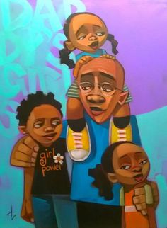 The lines, the colors, the message -they all make me happy.  365 days of paintings that portray Black dads in a positive light.
