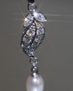 Sparkling Leaf Shape Created Tiny Diamond & Pearl Drop Pendant + Chain