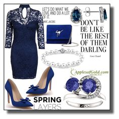 """Two Stone Tanzanite and Diamond ""Only Us"" Swirl Design Ring from ApplesofGold.com!"" by samra-bv ❤ liked on Polyvore featuring Giuseppe Zanotti, Dorothy Perkins, Shoes of Prey and applesofgold"