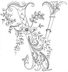 Magic Coloring - Decorated Flower Monogram Coloring Page for letter Creative Lettering, Lettering Styles, Hand Lettering, Embroidery Letters, Embroidery Stitches, Hand Embroidery, Parchment Craft, Calligraphy Letters, Illuminated Letters