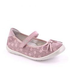 Pantofi roz pastel, din piele naturala, pentru fete.