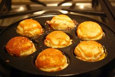 Danish Ebelskiver. Savory filled pancakes or sweet filled pancakes, which do you prefer?