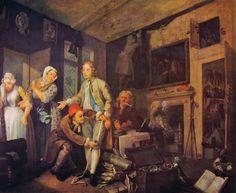 La carriera del libertino- L'Eredità-William Hogarth-1733-1735,olio su tela-misura 62,6 x 75 cm-custodito nel Soane's Museum a Londra.
