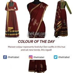 Get a & Look with Maroon- Says TheHLabel TheHLabel's wide range of and wear collection in this colour is ideal for family celebrations and special occasions. Opt for this colour to get the perfect ethnic look. Color Of The Day, Ethnic Looks, Maroon Color, New Trends, Kurti, Hue, Celebrations, Cool Designs, Range