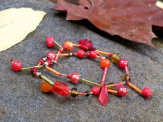 Beaded Stretch Bracelet  Renea  Orange Brown Red by lostsentiments, $10.00