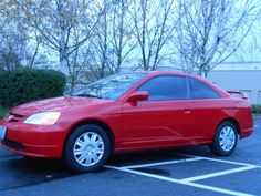 @2002 HONDA CIVIC EX 2 DOOR COUPE SHINY RED EXT BLACK LEATHER INT.