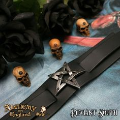 Alchemy Gothic A85 Pentagration  Wide black leather wrist strap bearing large pewter pentagram motif, with buckle fastening.