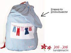 Wäschesack XXL hellblau, Wäschebeutel von joli.joli handgemacht auf DaWanda.com
