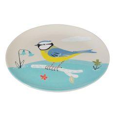 Melamine Plate Blue Tit Design   DotComGiftShop