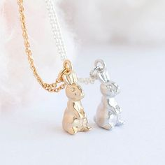 """Happy Easter Bunny /& Basket Silver Plated 18/"""" Necklace New in Gift Bag"""