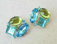 Avon Rhinestone Earrings Vintage Pierced Earrings Sky Blue
