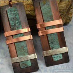 Handmade Rustic Copper Earrings with Sterling Silver Accent. $30.00, via Etsy.