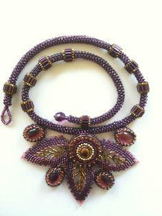 Necklace  Purple Gold & Pink Seed Bead Woven by JekaLambert, $355.00