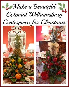 Make a Colonial Williamsburg Apple Tree Centerpiece for Christmas by Between Naps on the Porch.