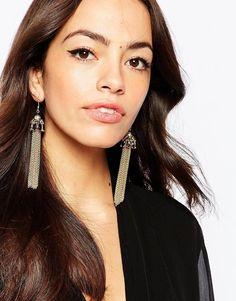 New Look | New Look Vintage Chain Tassel Earrings at ASOS