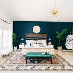 How beautiful is this bedroom that I came across via @ruemagazine Crushing on this rattan bed and the use of a hanging chair in the bedroom. Designed by Jessica McCarthy of @decoristofficial for @avestyles Currently working on my very first US stockist .... And it's a beauty! Currently manifesting positive vibes
