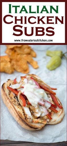 These Italian Chicken Subs are piled high with seasoned chicken, sauteed veggies, melted provolone, and a unique sandwich spread that adds a tangy kick! Chicken Subs, New Chicken Recipes, Chicken Sandwich Recipes, Sandwiches, Kitchen Recipes, Cooking Recipes, Best Superbowl Food, Chicken Seasoning, Italian Seasoning