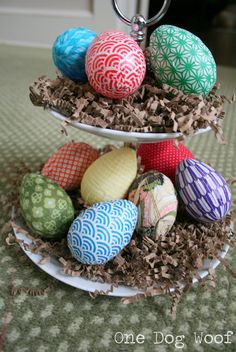 Fabric and paper wrapped Easter eggs