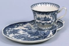 Blue Toile Tea Cup Snack Plate Set Castle Scene