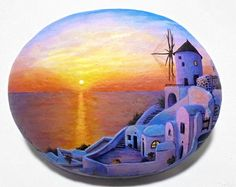 Sunset On The Greek Island Of Santorini ! Painting on Stone with high quality Acrylic paints and finished with Glossy varnish protection.
