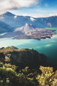 Mt. Barujari is an active volcano in the Segara Anak crater lake of Mt. Rinjani in Indonesia