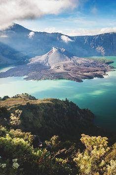Mt. Barujari is an active volcano in the Segara Anak crater lake of Mt. Rinjani in Indonesia.