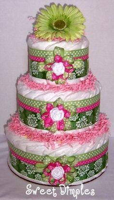 Three Tier Pink And Green Diaper Cake-diaper cake, shower centerpiece, baby, baby pink, baby green, pink and green diaper cake, pampers, baby shower, baby gift, newborn, hospital gift, pregnancy gift, baby girl diaper cake, baby boy diaper cake, diapers, gifts baby-shower-ideas