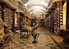 A Feast for the Eyes and Ears: The World's Most Beautiful and Majestic Library. The Clementinum is a complex of historical buildings founded by Jesuits in Prague, Czech Republic, and is famous for its stunning Baroque-style library which houses more than 20,000 historically rare books and is adorned with beautiful fresco paintings.
