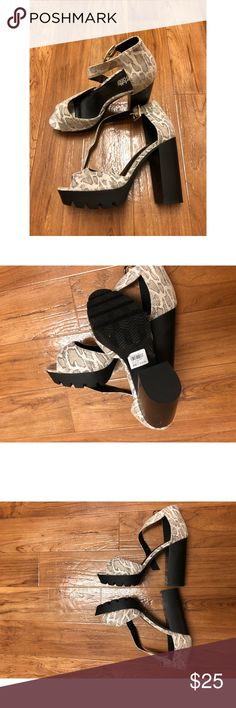 Charlotte Russe snakeskin heels Heel high is 4.5 inches. Super cute snakeskin look with a chunky heel. NWT for $36. There is a slight white scuff on one of the heels, but nothing major at all. Size 7 Charlotte Russe Shoes Heels