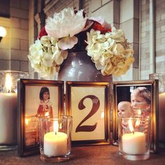 creative table number ideas for weddings | Wedding Ideas / Creative + Adorable Baby Pic Wedding table numbers