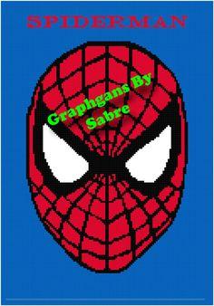 Spiderman Face Crochet Afghan Graph Pattern by GraphgansBySabre   https://www.etsy.com/shop/GraphgansBySabre?ref=l2-shopheader-name