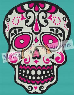 Sugar Skull Graphghan Pattern Written Pattern Word by MamaShawns
