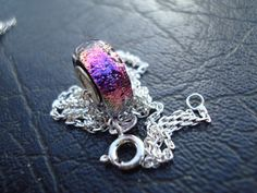 Pretty in Violet / Pink - Donut Large Core Dichroic Glass Bead - Fine Silver (.999) Lining / Sterling Silver (.925) Chain Included by ArtworxGlassStudio on Etsy