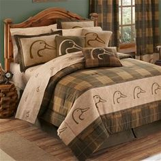 NEW! Delectably Yours Ducks Unlimited Bedding Collection by Kimlor - Comforter Sets, bed in bag, duck sheets, pillows, valance, curtains and shower curtain.   #DelectablyYours Rustic Cabin Lodge Bed and Bath Decor.