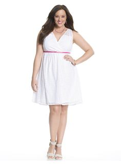 Plus Size Perforated surplice dress Lane Bryant Women's Size 14,16,18,20,22,24,26,28, White, Turquoise, Plum