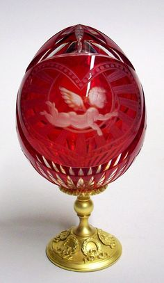 FABERGE ART-GLASS or CARVED CRYSTAL EGG♥♥♥