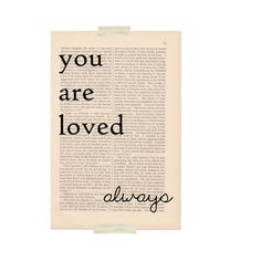 love quote dictionary art - YOU ARE LOVED Always print - love quote poster