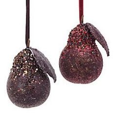 Purple iced pear ornament