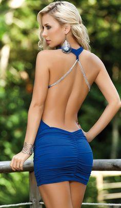 Blue Backless Mini Dress http://berryvogue.com/womensfashion
