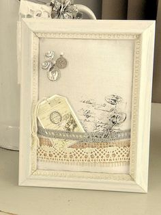 Pillow Frame - easy made shabby chic style frame with lace ribbon, to pin photographs and embellishments on - design by 24Homes - with a full tutorial in issuu magazine
