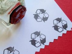 Tiny recycle symbol rubber stamp.    Photopolymer rubber stamp mounted on a chunky, glass Ice Cube. Easy to hold and so versatile! **Intended for