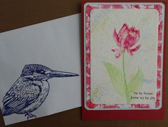 Stamped card with SU Lotus Blossom. Kingfisher from Sheena Douglass.