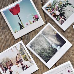 Mod Podge your photos onto white tiles to make a set of drink coasters.