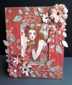 Willow Wooden Frame Mail Art Envelopes, Handmade Cards, Wooden Frames, Card Ideas, Stamps, Leaves, Scrapbook, Pretty, Face