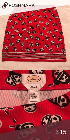 Red w/ white & black beetles skirt. Preppy Preppy Talbots waffle weave red above the knee skirt. Stretch material. Talbots Skirts Mini